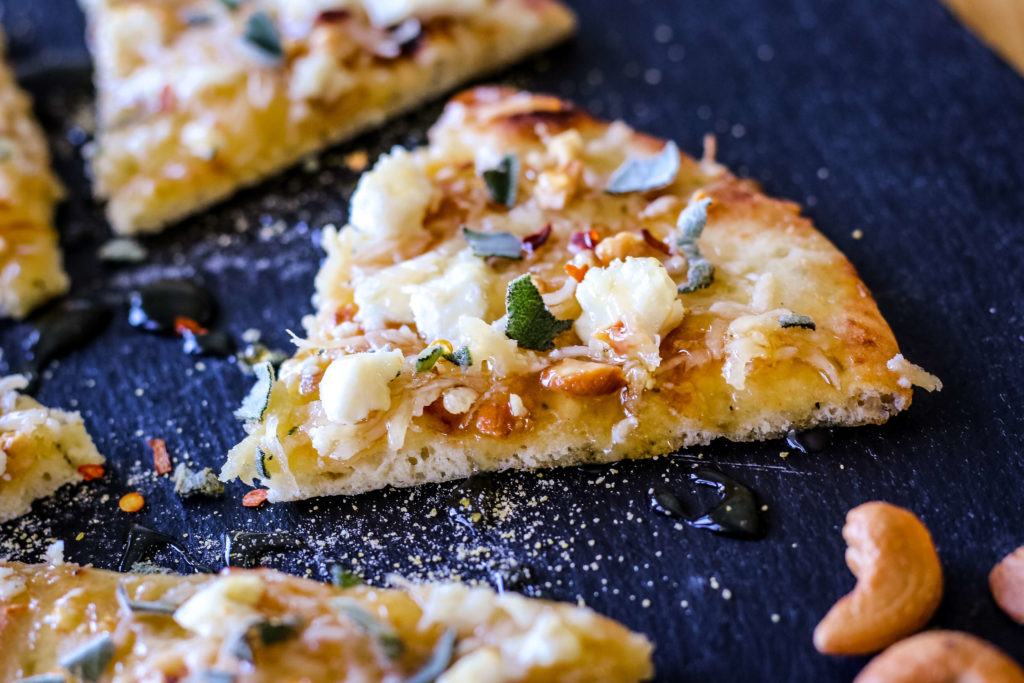 Photo of honey and goat cheese pizza