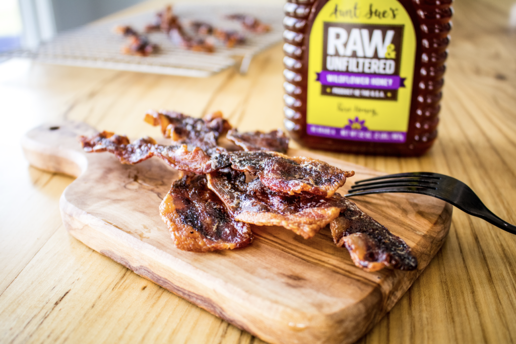 Photo of Aunt Sue's® Raw & Unfiltered Honey and bacon.