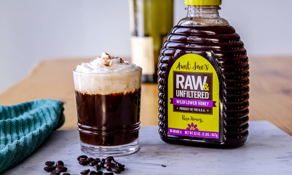 Photo of coffee and AUNT SUE'S® Raw & Unfiltered Coffee.